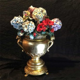 Gold cup with hydrangeas