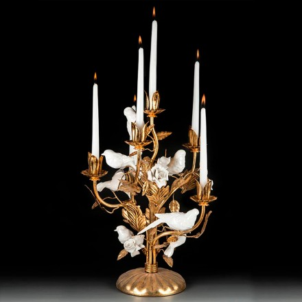 Golden candelabra white birds