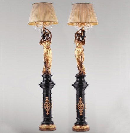 Pair of ladies with lampshade
