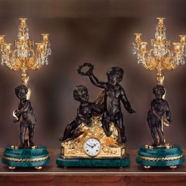 Set clock and two candelabra LUIGI FILIPPO – NAPOLEONE III   STYLE