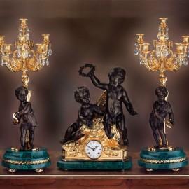Set orologio e due candelabri  STILE LUIGI FILIPPO – NAPOLEONE III