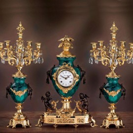 Set clock and two candelabra Luigi XVI Style