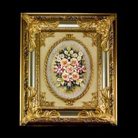 Roses in golden silver frame