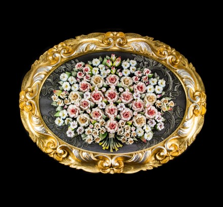 Roses in an oval frame