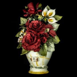 Tall vase with red roses, porcelain